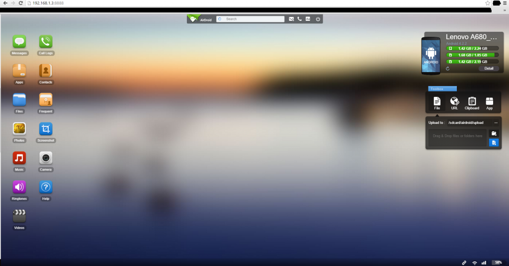 Airdroid Home Page