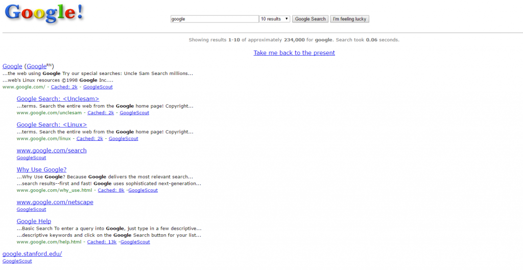 Tipakos Google in 1998